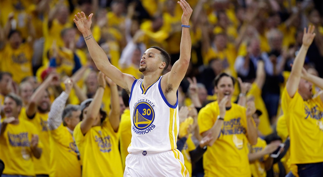 525a0eeff94 Golden State Warriors  Stephen Curry (30) celebrates after scoring against  the Portland Trail Blazers. (Marcio Jose Sanchez AP)