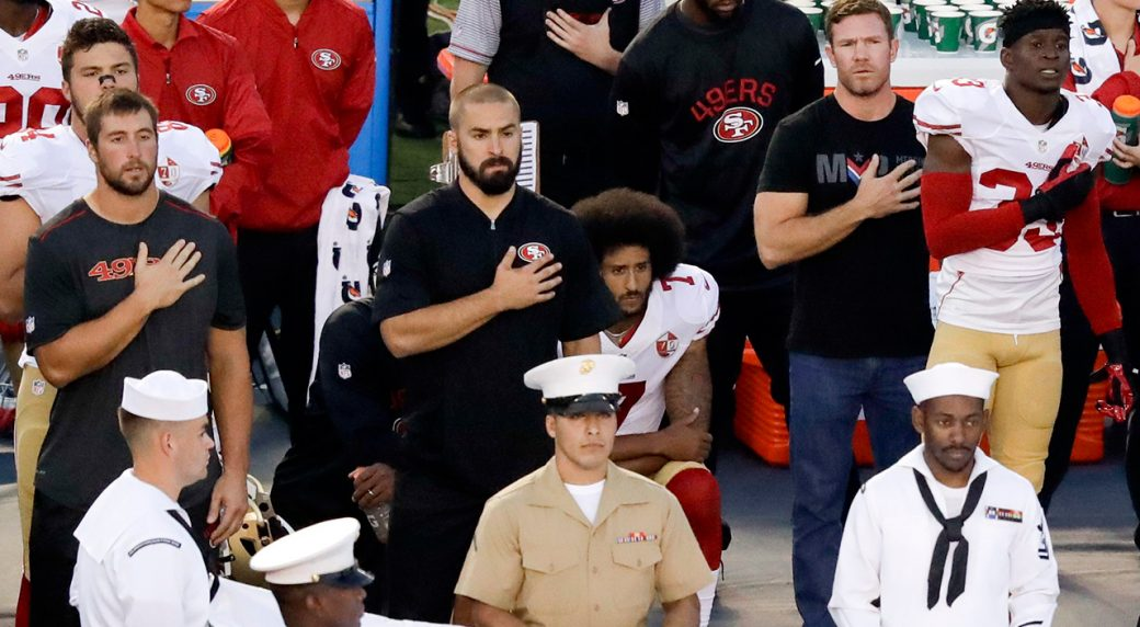 Kaepernick 49ers Teammate Kneel During National Anthem