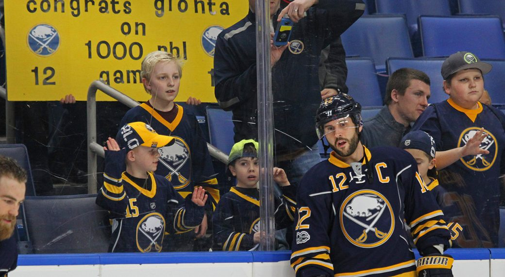 Buffalo Sabres forward Brian Gionta (12) looks on prior to the first period  of his 1000th NHL game against the Florida Panthers 4005635df