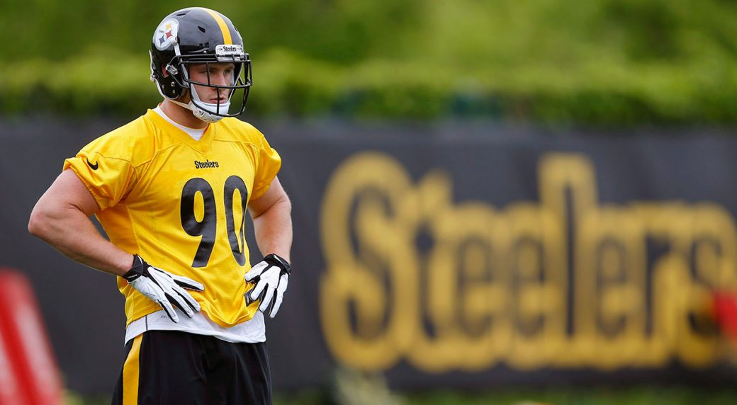 Pittsburgh Steelers first round draft pick linebacker T.J. Watt (90) waits  his turn in drills during an NFL football rookie minicamp. (Keith  Srakocic AP) 55564c1b5