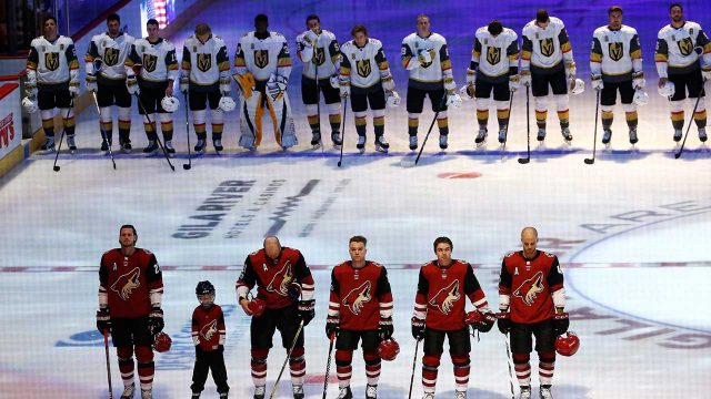 Golden Knights escort first responders, honor Vegas victims at home opener