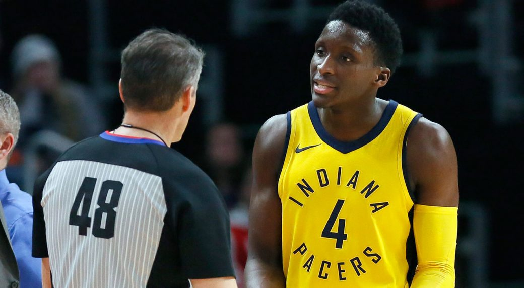 b12a87cca8a Indiana Pacers guard Victor Oladipo (4) argues a call with NBA official  Scott Foster during the second half of an NBA basketball game Tuesday