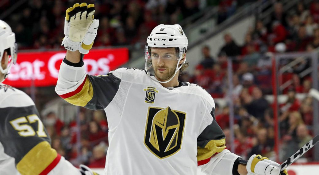 Golden-Knights'-Colin-Miller-(6)-celebrates-his-goal-against-the-Carolina-Hurricanes-with-teammate-David-Perron-(57)-during-the-first-period-of-an-NHL-hockey-game,-Sunday,-Jan.-21,-2018,-in-Raleigh,-N.C.-(Karl-B-DeBlaker/AP)