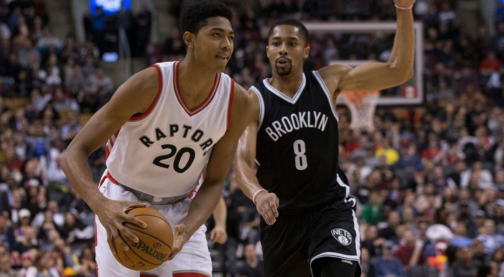 e364bec95 Toronto Raptors forward Bruno Caboclo (left) looks to make play as Brooklyn  Nets guard Spencer Dinwiddie covers during second half NBA basketball  action in ...