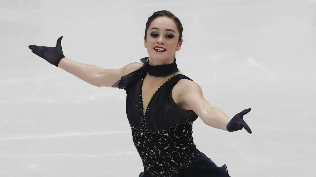 Kaetlyn Osmond of Canada performs during women's short program at the Figure Skating World Championships in Assago, near Milan, Wednesday, March 21, 2018. (Antonio Calanni/AP)