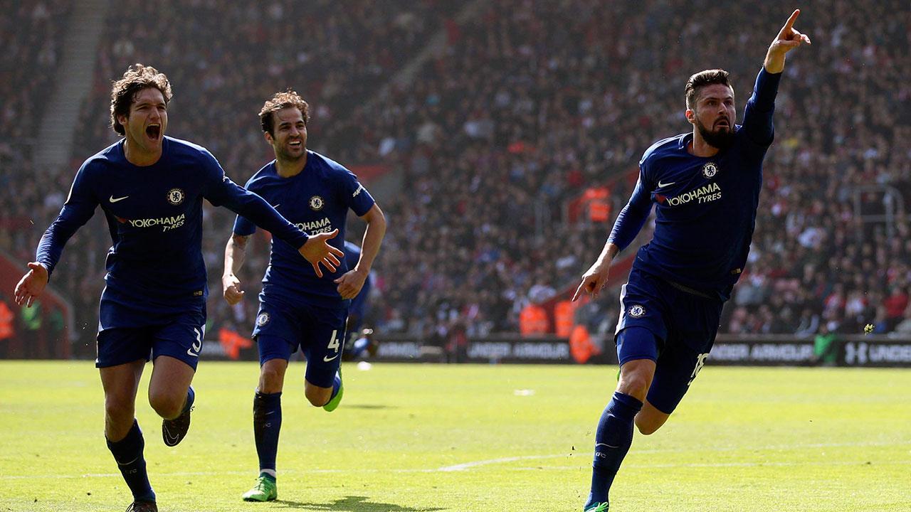 Olivier Giroud helps Chelsea rally back to beat Southampton