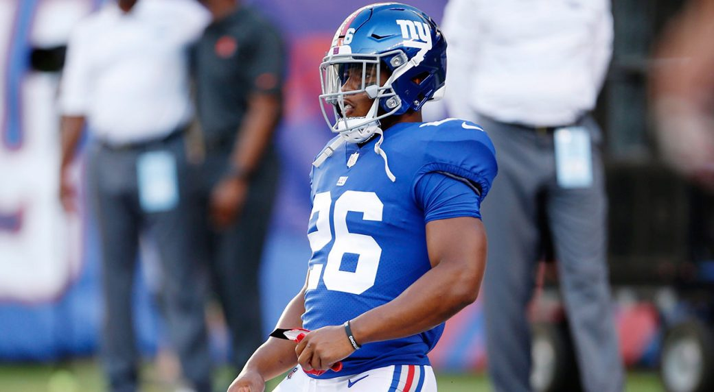 2a985de7c83 Giants  Barkley held out of practice because of leg injury. New York Giants  running back Saquon ...
