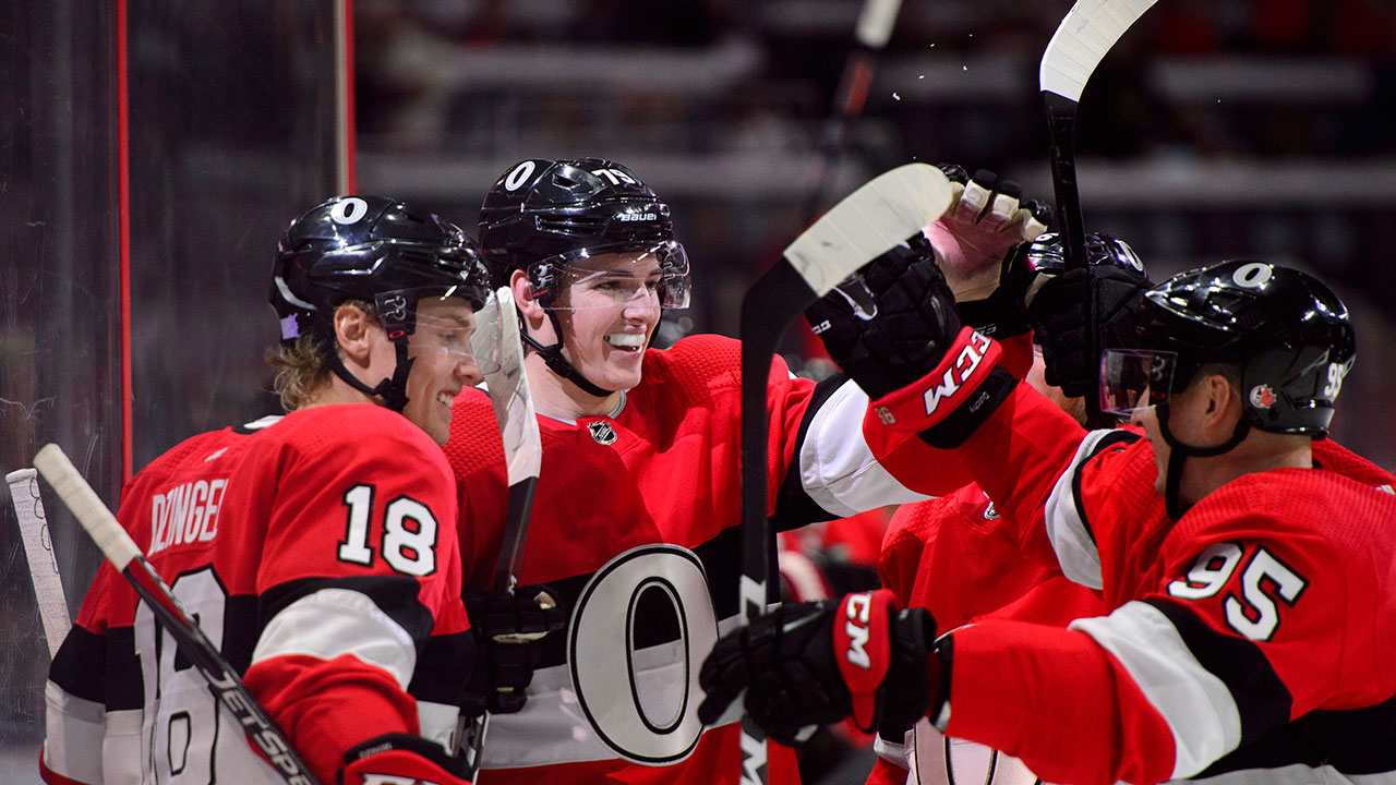 Batherson scores in debut as Senators stymie Red Wings in narrow victory