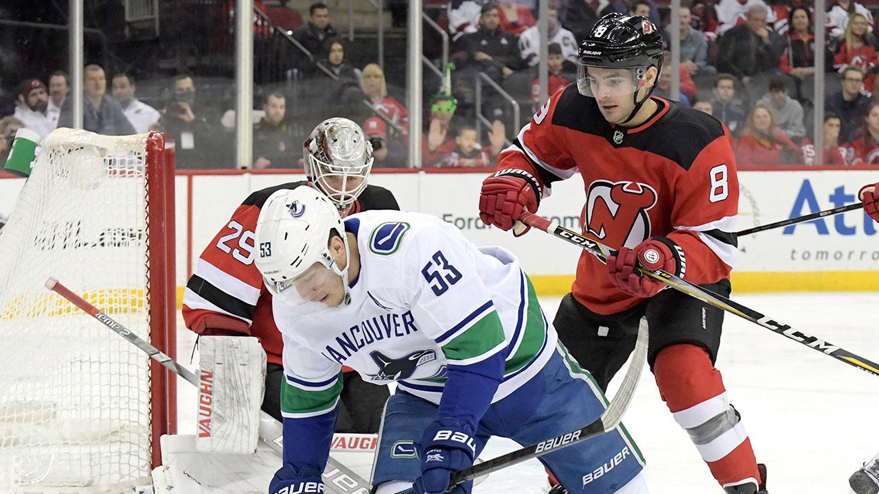 26b0828af Canucks fall to Devils as Blackwood earns 2nd straight shutout -  Sportsnet.ca