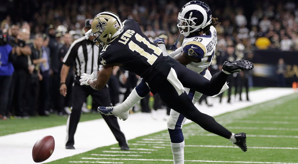6efafca9c New Orleans Saints wide receiver Tommylee Lewis (11) is ht by Los Angeles  Rams defensive back Nickell Robey-Coleman. (Gerald Herbert AP)