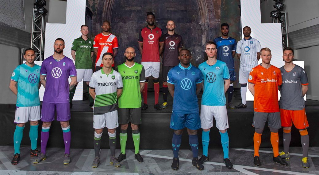 20f4474f54e The home and away uniforms of all seven CPL teams. Back row from left to  right  Cavalry FC