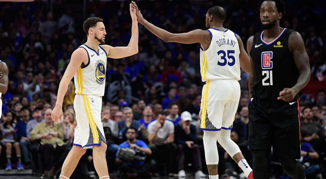 new concept 658c3 109f8 Golden State Warriors guard Klay Thompson, left, and forward Kevin Durant,  center, congratulate each other as Los Angeles Clippers guard Patrick  Beverley ...