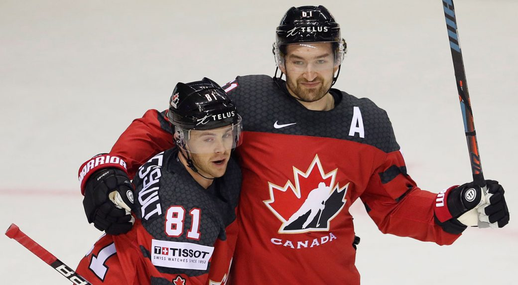 a1661511 Canada's Mark Stone, right, celebrates with Canada's Jonathan Marchessault,  left, after scoring his sides second goal during the Ice Hockey World ...