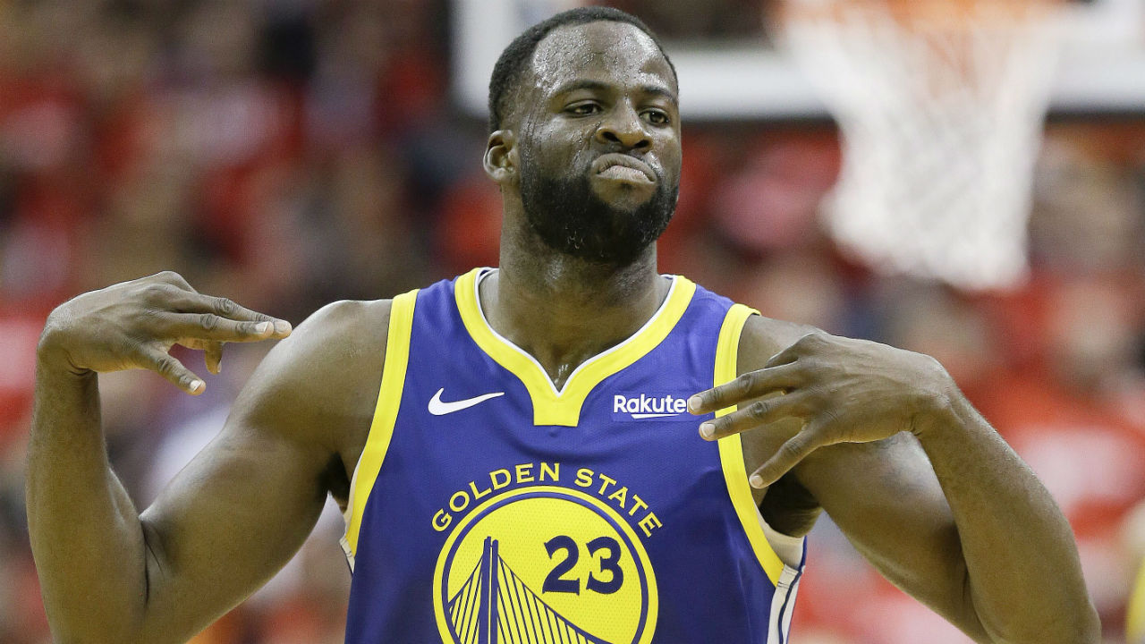 Golden State Warriors forward Draymond Green reacts after making a three-point basket during the second half of Game 3 of a second-round NBA basketball playoff series against the Houston Rockets, Saturday, May 4, 2019, in Houston. (Eric Christian Smith/AP)